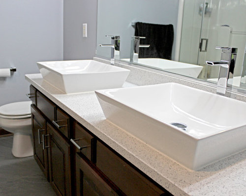 Master bath with cambria whitney quartz and rectangle for Master bathroom vessel sink