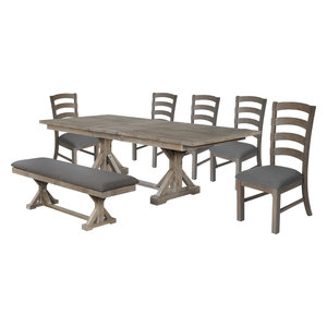 Hudson Weathered 7-Piece Dining Set with Bench, Gray
