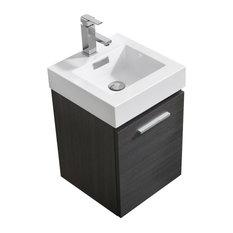 Bliss 16-inch Wall Mount Modern Bathroom Vanity - KubeBath Gray Oak 16-inch Bliss Wa