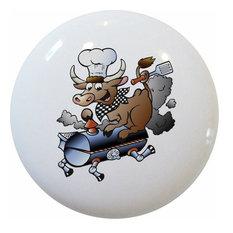 BBQ Pig Ceramic Cabinet Drawer Knob