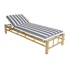 Bamboo Lounge Chair Sun Lounger/Mattress Canvas Replacement, Natural With Blue W