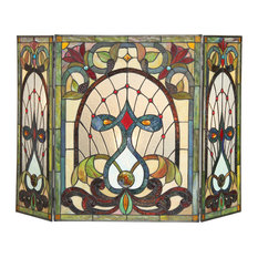 Ruby Tiffany-Glass 3-Piece Folding Victorian Fireplace Screen