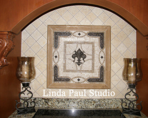 lis backsplash grand vienna mosaic tile and metal accents medallion