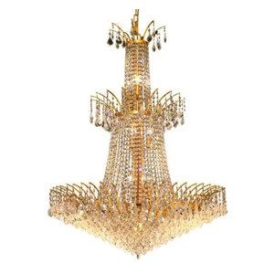 Elegant Lighting 8033G32G Victoria 18-Light 0-Tier Crystal Chandelier in Gold