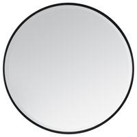 "Asti Metal Frame Bevelled Round Mirror 36"", Black"