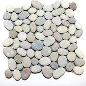 "12""x12"" White and Tan Pebbles Tile"