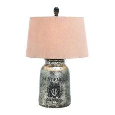 Terracotta Table Lamp Silver Round Cream Home Decor 27960