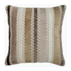 "Beige Decorative Pillow Cover, Brown Striped 16""x16"" Velvet, Mish Mash Stripes"
