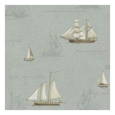 Chesapeake by Brewster MAN01704 Gentlemen's Quarters Andrew Sky Ships Wallpaper