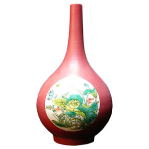 Vintage Style Chinese Handcrafted Pink Glaze White Lotus Birds Vase