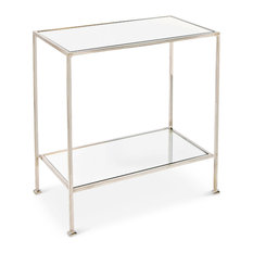 Baldwin Hollywood Regency Nickel Mirror 2 Tier Side Table   Side Tables And  End Tables