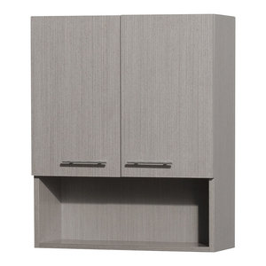 Centra Wall-Mounted 2-Door Bathroom Storage Cabinet, Gray Oak