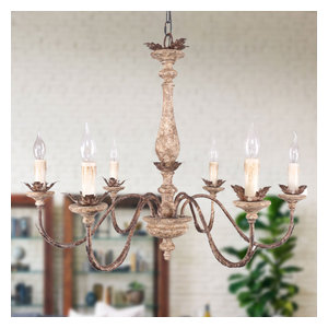 French Traditional Elegant Wood and Iron Chandelier, 6-Light
