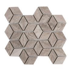 "12.06""x12.06"" Warren Mosaic Wall Tiles, White Wooden Marble, Set of 10"