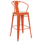 """OSP Home Furnishings - Patterson Cafe Stool, Set of 2, Orange - Bring cafe style into your home with this metal bar stool. Ultra-chic style for the kitchen or home bar. A wing armed back lends extra support while you sit and rubber foot caps help protect the floor from scratches. Exude modern cool with the OSP Designs 30"""" Cafe Stool. Noting weight capacity up to 250lbs"""