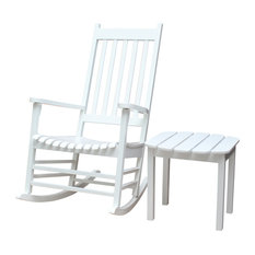 International Concepts   Alpharetta 2 Piece Porch Rocking Chair And Side  Table Set, White