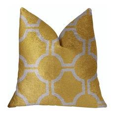 "Plutus Honeycomb Yellow and Beige Luxury Throw Pillow, 20""x30"""
