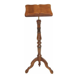 Traditional Lectern, Solid Oak Wood With Adjustable Height, Curved Design