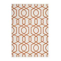 Contemporary 2-tone Area Rug, Ivory and Orange, 160x230 cm