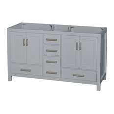 "Sheffield 60"" Double Bathroom Vanity, Gray, No Countertop, No Sinks"