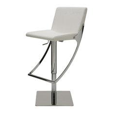 Swing Naugahyde Adjustable Bar/Counter Stool, White
