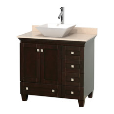 """36"""" Acclaim Single Vanity, Ivory Marble Countertop and Pyra White Porcelain Sink"""