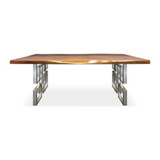 Live Edge Dining Table Geometric Polished Nickle Hardwood Top
