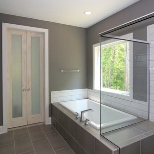 Farmhouse Bathroom with Glass Barn Doors
