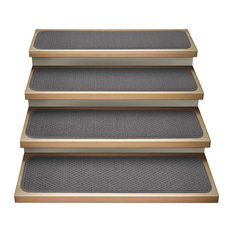 "Set of 15 Attachable Carpet Stair Treads Gray, 8""x30"""