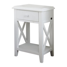 Nice Wood Bedside Table, White
