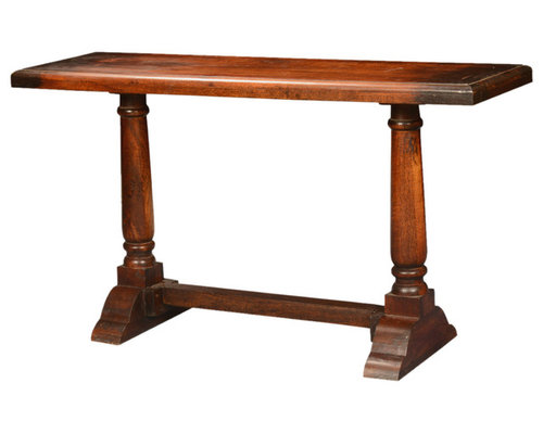 Empire Acacia Wood Trestle Double Pedestal Console Hall Table   Console  Tables