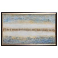 "Virgo 30"" Large Rectangular Wall Art Textured/Black/Champagne Silver"