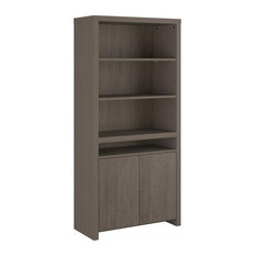 Bristol Tall 6 Shelf Bookcase with Doors in Restored Gray - Engineered Wood