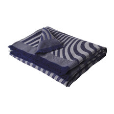 Alpaca Waves Woven Throw, 150x180cm, Navy and Taupe