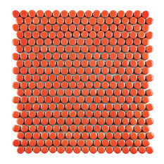 "11.25""x11.75"" Galactic Penny Round Porcelain Mosaic Floor and Wall Tile, Orange"