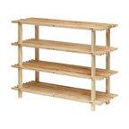 Furinno FNCJ-33005 Pine Solid Wood 4-Tier Shoe Rack, Natural