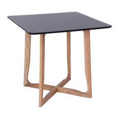 LeisureMod Cedar Square Bistro Dinin Table, Natural Wood X Shaped Base, Black
