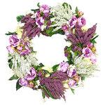 Creative Displays - Kalanchoe, Heather, Peony, and Wild Flower Wreath - Grape vine wreath with white and purple heather, purple kalanchoe, white wild flowers, green hydrangea bush, and purple peony.