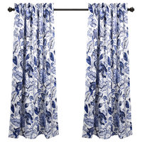 "Cynthia Jacobean Room Darkening-Wp-Blue-Pair-52""x63""+2"
