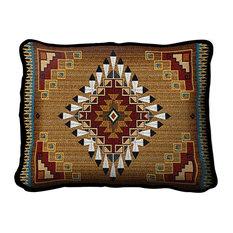 Fine Art Tapestries - Southwest Sampler Cornflower and Red Pillow - Decorative Pillows