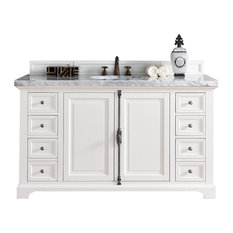 "Providence 60"" Cottage White Single Vanity 4CM Carrara White Marble Top"