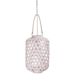 Handwoven Bamboo Lantern Pendant Lamp, Large, 1 Bulb, White Wash