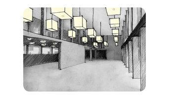 Darstellung der Lichtwirkung im Innenraum - ein Schulzentrum