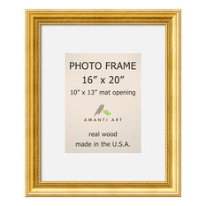 """Picture/Photo Frame 16""""x20 Matted to 10""""x13, Townhouse Gold, Outer Size 20""""x24"""""""
