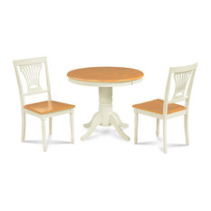 Brookline 36-inch Round Dining Table And Chair Set 3 Piece Wooden