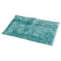 Satiny Bath Mat Shaggy Loop Microfiber, Turquoise Blue