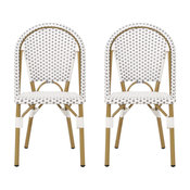 Baylor Outdoor French Bistro Chair, Set of 2, Gray/White/Bamboo Print Finish