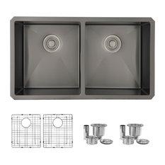 STYLISH 32in Graphite Black Double Bowl Undermount Stainless Steel Kitchen Sink