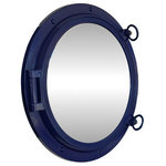 """Handcrafted Nautical Decor - Porthole Mirror, Navy Blue, 24"""" - This Navy Blue Porthole Mirror 24'' adds sophistication, style, and charm for those looking to enhance rooms with a nautical theme. This boat porthole has a sturdy, heavy and authentic appearance, yet it is made of wood and fiberglass to lower the weight for use as nautical wall decor. This porthole mirror makes a fabulous style statement in any room with its classic round frame, five solid rivets and two dog ears surround the perimeter of the porthole frame."""