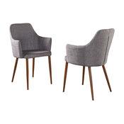 GDF Studio Serra Fabric Dining Chairs, Light Gray/Dark Brown, Set of 2